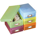 5 Coloured Shoe Boxes & Labels