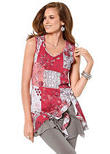 Contrast Hem Printed Tunic Top