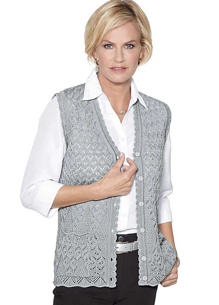 Knitting Patterns Ladies Waistcoats : Knitted Scalloped Edge Waistcoat by Witt Witt-International